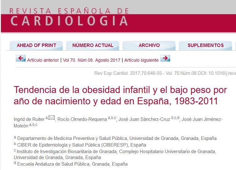 e510f73e220d2 Tendencia de la obesidad infantil y el bajo peso por año de nacimiento y  edad en España